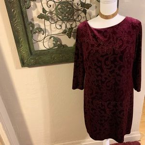 Burgundy dress with gold accents